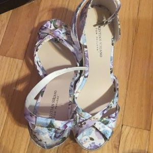 Blue and Purple Floral Wedges